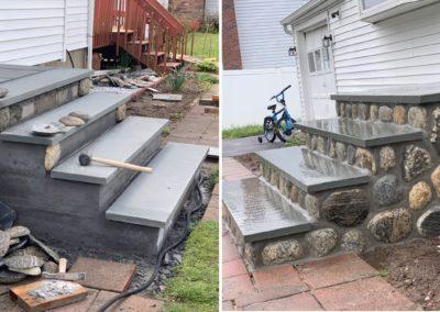 Stone Steps Construction & Stone Veneer Installation Project in Torrington, CT